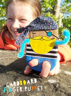 Cardboard pirate finger puppet, fun, quick and easy craft for kids - make one or make a whole pesky crew. Arrrr! // MollyMooCrafts.com