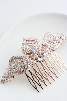 Or rose cheveux Bridal peigne Or Rose mariage par LuluSplendor