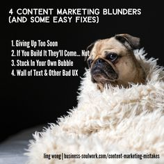 4 Content Marketing Mistakes Made by Coaches, Consultants, Solopreneurs & Small Businesses (and how to fix them) >> http://business-soulwork.com/content-marketing-mistakes/  #contentmarketing #blogging #bloggingforbusiness #contentstrategy #copywriting #coach #healthcoach #lifecoach #solopreneur #entrepreneur #mompreneur #smallbusiness #smallbusinessmarketing