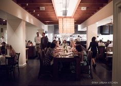 communal dining table in the EdK (El Dorado Kitchen) on the Sonoma Plaza