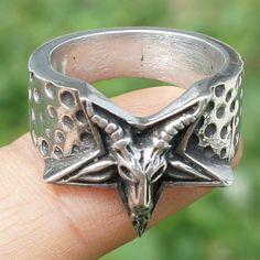 Inverted Pentagram Star Baphomet Goat Laveyan Satan Devil Satanic Pewter Ring #Unbranded #FashionRing
