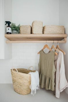 Kyal and Kara's Central Coast Australia home renovation - getinmyhome. Laundry inspiration - wicker basket and clothes hanging rail. Laundry Shelves, Laundry Room Organization, Laundry Storage, Organization Ideas, Small Laundry, Laundry In Bathroom, Laundry Decor, Laundry Baskets, Laundry Area