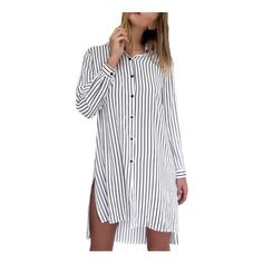 Women's Fashion Long Sleeve Striped Button Down Shirt Dress (£13) ❤ liked on Polyvore featuring dresses, collar dress, striped shirt dress, striped dress, shirt dress and stripe dresses