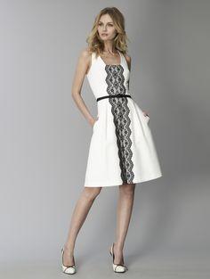 David Meister's Lace Trim Pique Dress.