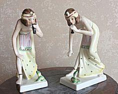 Pair Of Art Deco Nude Female Snake Charmer Figurines