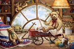 Remembering Yesterday, a painting of light coming through the attic window illuminating a wagon holding one teddy bear holding a sailboat, with two more teddy bears in the picture, one of the Janet Kruskamp Teddy Bear Gallery of  original paintings by Janet Kruskamp