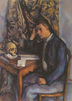 Young Man and Skull (Jeune homme à la tête de mort) Paul Cézanne (French, Oil on canvas. The Barnes Foundation. Seated at a wooden table covered with books, a young man leans. Renoir, Cezanne Art, Paul Cezanne Paintings, Monet, Aix En Provence, Paul Gauguin, Cezanne Portraits, Free Illustration, Friedrich Schiller