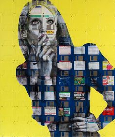 Turning the obsolete into contemporary art. Portraits painted on a canvas of old 3 1/2 floppy disks, by UK artist Nick Gentry