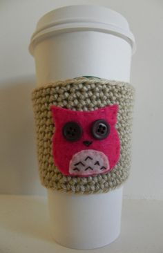 Coffee Cup Cozy/ Owl Cup Sleeve Cozy by LiliLoveCreations on Etsy, $10.00