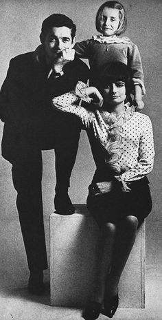 """jacquesdemys: """"Jacques Demy and Agnes Varda, with their daughter Rosalie, photographed by William Klein, 1965 """" Jacques Demy, Kate Barry, Agnes Varda, Peter Beard, William Klein, George Hurrell, Ad Photography, Female Directors, Diane Arbus"""