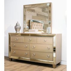 Abbyson Living Langston Mirrored 7 Drawer Dresser and Mirror - RK-B777-2540/10