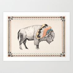 That´s reminds me to White Bison Art Print by Sandra Dieckmann Framed Art Prints, Fine Art Prints, Canvas Prints, Sandra Dieckmann, White Bison, Bison Print, Quirky Art, Unique Art, Thing 1