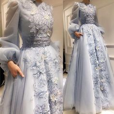 Long Puff Sleeves Evening Prom Dresses, Sweet Flowe Applique Wedding Dress, Floor Length Party Dress - Welcome! Hijab Evening Dress, Hijab Dress Party, Evening Dresses, Prom Dresses, Formal Dresses, Dress Prom, Hijab Wedding Dresses, Trendy Dresses, Nice Dresses