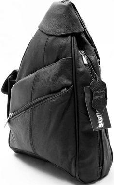BLACK COWHIDE LEATHER BACKPACK SHOULDER BAG ORGANIZER CELL PHONE POCKET #ShoulderBag