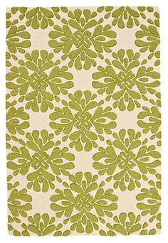 Coqo Floral Rug, Lime contemporary-rugs