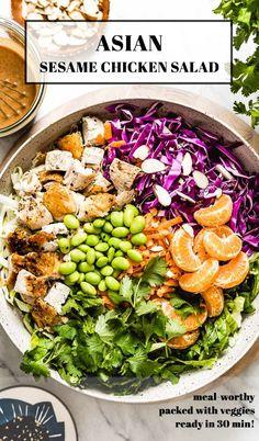 Sesame Chicken Salad Recipe, Chicken Salad Recipes, Asian Chicken Salads, Healthy Chicken Dinner, Healthy Asian Recipes, Fresh Salad Recipes, Vegetable Recipes, Vegetable Salad, Easy Dinner Recipes
