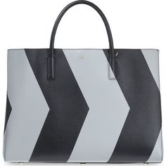 Ebury chevron reflect leather tote ($2,050) ❤ liked on Polyvore featuring bags, handbags, tote bags, black silver, leather tote bags, zippered tote, chevron purse and purse