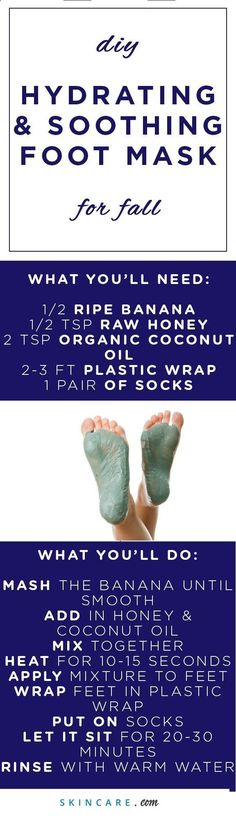Give the skin on your feet proper care and attention with our DIY moisturizing foot mask. Perfect during a DIY pedicure or spa day, this DIY moisturizing foot mask is packed with skin benefiting ingredients, like organic coconut oil, raw honey, and a ripe #footspa #footspahealth