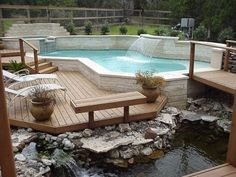 Beautiful DIY Wood Deck Projects you should try for your outdoor space Wood Deck Designs, Pergola Designs, Pool Designs, Cool Deck, Diy Deck, Patio Decks, Patio Pond, Home Depot, Above Ground Pool Decks