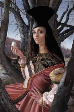 David Michael Bowers {figurative #surreal art female holding egg woman with trees painting} dmbowers.com