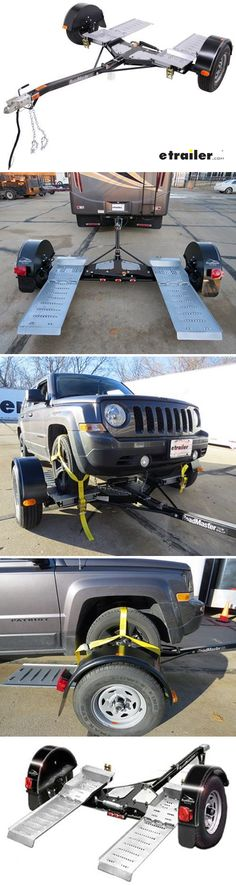 Tow your vehicle without installing a tow bar or base plates. This tow dolly has self-steering wheels for superior maneuverability and electric brakes for safe stopping. Adjustable axle positions and sliding ramps fit almost any vehicle.