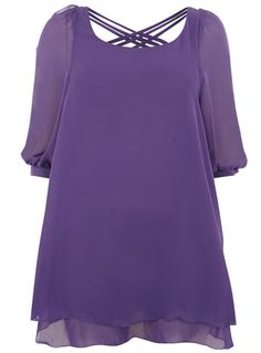 Lovedrobe Criss Cross Detailed Tunic. £22.00. A babydoll style tunic made from a floaty purple chiffon. It has a criss-cross detail at the back, ¾ sleeves and a wide scoop neck to show off your decolletage. Style it with wedges, or as we move into autumn opt for long boots.