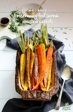 Roasted carrots are brought to life with organic rosemary and a maple balsamic glaze in this recipe to make for an exquisite simple side dish.