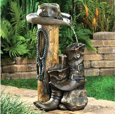 New Wild West Western Cowboy Boots Hat Outdoor Garden Water Fountain