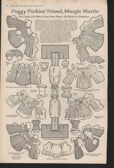 Ladies Home Journal 1918 Peggy Perkins' Friend, Margie Martin fold-away dolls by Helen A Haselton- kids367