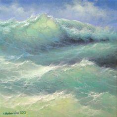 Atlantic Waves  12x 12 original oil on by vladimirmesheryakov, $599.99