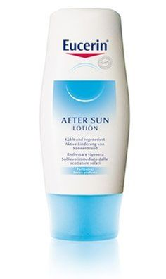 Eucerin After Sun Lotion 150 ml by Eucerin After Sun Lotion 150 ml. $4.95. After Sun Care cools and regenerates sun-stressed skin. Active sunburn relief.. ACTIVE INGREDIENTS: 10% active Hamamelis Destillate, which is proven to relieve reddening of the skin and tightness caused by sun exposure. Vitamin E strengthens the skin's own protection system against free radicals.  SKYN TYPE: For sun-stressed skin  ATTRIBUTES   * Fragance free  * Light, fasat absorbed texture  * ...