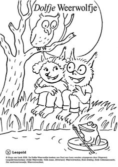 dolfje-weerwolfje kleurplaat Animal Crafts, Free Prints, Colouring Pages, Diy For Kids, Mandala, Dory, Holiday, Cute, Pictures