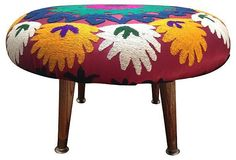Suzani-Covered Footstool on Chairish.com
