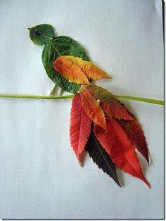 Фантазия из осенних листьев - аппликация на тему природы 4