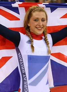 Laura Trott of Great Britain celebrates winning the gold medal in the women's Omnium Track Cycling Time Trial on Day 11 of the London 2012 Olympic Games. Track Cycling, Cycling Girls, Victoria Pendleton, 2012 Summer Olympics, Team Gb, Olympic Champion, Sports Stars, Olympians, Female Athletes