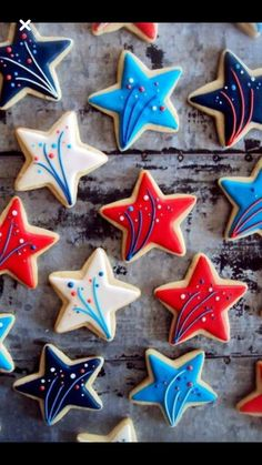 July Cookies - Craft and Beauty Star Sugar Cookies, Iced Cookies, Royal Icing Cookies, Decorated Sugar Cookies, Patriotic Sugar Cookies, Cut Out Cookies, Cute Cookies, Cupcake Cookies, Cupcakes