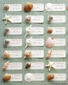 Instead of numbers to assign guests their tables, use names of seashells. Each type of shell represents a different table. Arrange seating cards and shells on aqua fabric to give the impression of water. On each table, display a card with the shell's name, or fill a bowl with those shells as a centerpiece.
