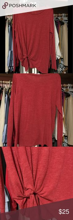 🌼MUST GO🌼 Zara Tie Front Red Long Sleeve Shirt Rarely used maybe once at most. Zara basic collection shirt. Size large. Super cute for the fall. Tie front. Freshly washed. 🌼Price is now final please bundle with other items for a awesome deal!🌼 Zara Tops Tees - Long Sleeve