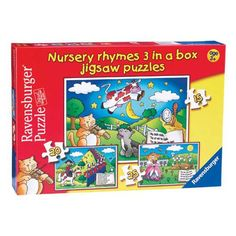 """Ravensburger Nursery Rhyme Preschool Puzzle Set ($14.95) Made from sturdy recycled board. Ravensburger also recycles more than 95% of its production waste. Designed in Germany and produced under ethical conditions. Ravensburger is a member of """"Fair Play"""" initiative to ensure its products are made in compliance with health, safety and environmental regulations."""
