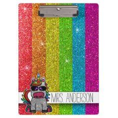 Shop LGBT Glitter Rainbow Unicorn Teachers Classroom Clipboard created by rozine. Light Up Unicorn, Rainbow Unicorn, Teacher Clipboard, Clipboards, Personalized Note Cards, School Supplies, Teacher Gifts, Lgbt, Classroom