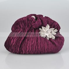 Purple Fully Crinkled Satin Evening Clutch with Rhinestone Flower