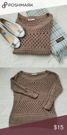 Crochet Sweater Taupe colored crochet Sweater from Old Navy. Wear a white tank under this with a beautiful scarf and you've got an adorable outfit anyway you look at it! A wide neck and 3/4 length sleeves. Excellent condition. Old Navy Sweaters