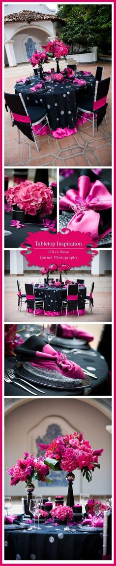 Pink And Black table setting and decor