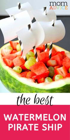 Watermelon Pirate Ship from MomAdvice.com Pirate Ship Watermelon, Watermelon Boat, Watermelon Fruit Salad, Good Food, Yummy Food, Delicious Recipes, Melon Ballers, Great Salad Recipes, Party Food And Drinks