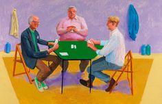 David Hockney<br> Card Players #2, 2014 <br> Acrylic on canvas<br> 48 x 72 in. (121.9 x 182.9 cm)