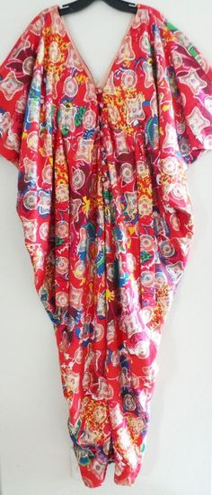 Vtg 70s JAY MORLEY for FERN VIOLETTE NEIMAN MARCUS Red Drape Maxi Caftan Dress…