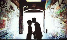 Mariage idée photo ... On voit seulement l'ombre des maries