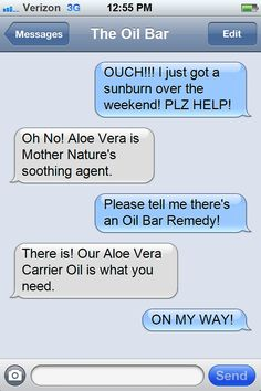 Sunburned? Try Our Oil-ganics™ Aloe Vera Carrier Oil! Come see us in store or online. Either way, we've got you covered! http://www.theoilbar.com/index.php/index/carrier-oils/aloe-vera-carrier-oil.html