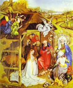 Robert Campin ca. 1380 – 1444 Birth of Christ oil on panel × 72 cm) — ca. Mus馥 des Beaux-Arts, Dijon Robert Campin biography This work is linked to Luke Renaissance Kunst, Renaissance Paintings, Robert Campin, Nativity Painting, Art Ancien, Medieval Art, Delft, Religious Art, Christmas Art