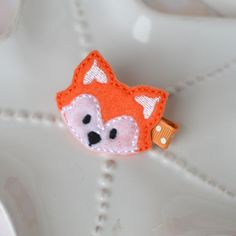 Felt Fox Hair Clip Cool Animal Bow Trendy Fun by MyLittlePixies